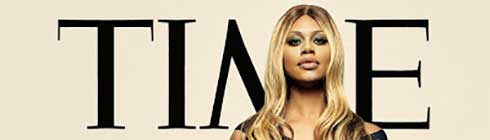 Laverne Cox in front of the TIME logo