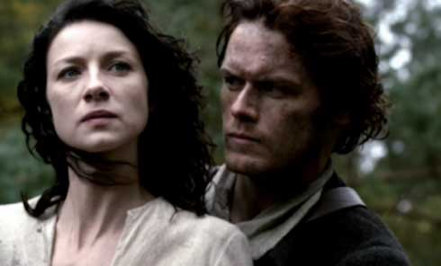 Caitriona Balfe as Claire Randall and Sam Heughan as Jamie Fraser in Outlander
