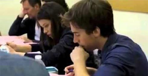 Tatiana Maslany and Jordan Gavaris at a table read for Orphan Black