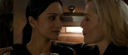 Archie Panjabi and Gillian Anderson in a scene from The Fall