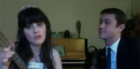 Zoe Deschanel and Joseph Gordon-Levitt singing