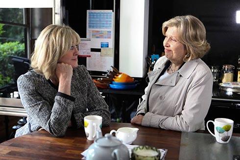 Celia and Caroline talking.
