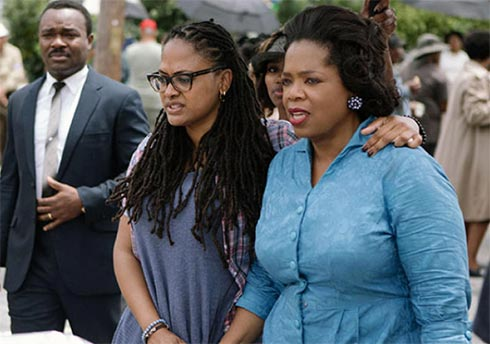 "David Oyelowo, Ava Duvernay & Oprah Winfrey on the set of ""Selma"""