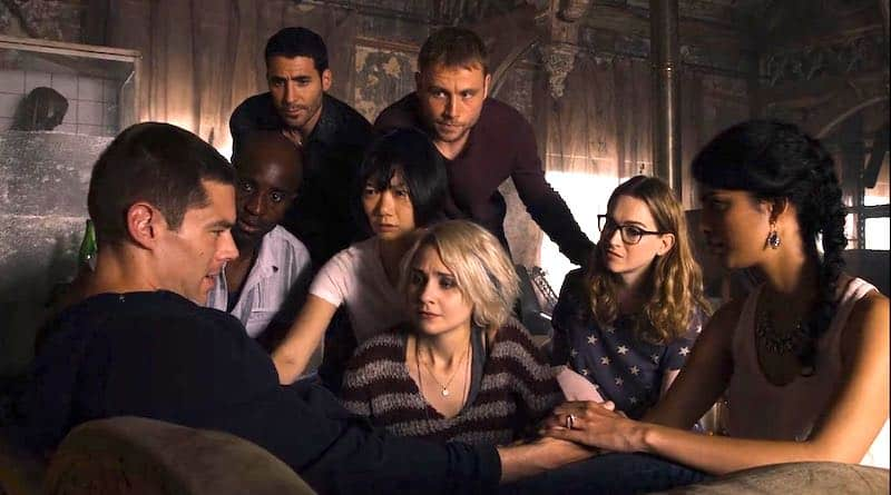 Doona Bae, Max Riemelt, Brian J. Smith, Miguel Ángel Silvestre, Tuppence Middleton, Tina Desai, Jamie Clayton, and Toby Onwumere in Sense8