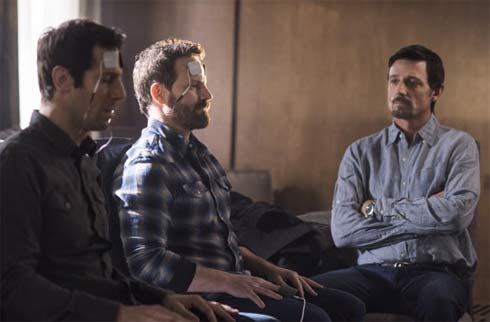 A scene from Proof with David Chisum, Ryan Robbins and Josh Cooke
