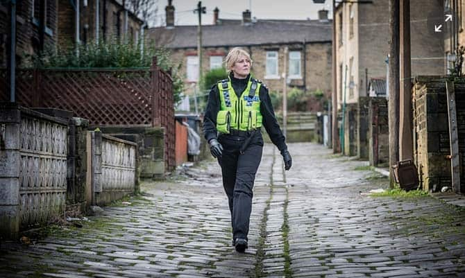 Sarah Lancashire in a street scene in Happy Valley