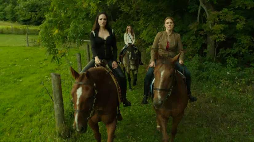 Bo, Lou Ann and Kenzi on horses
