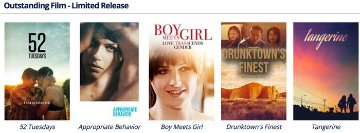 Outstanding films with limited release nominees.