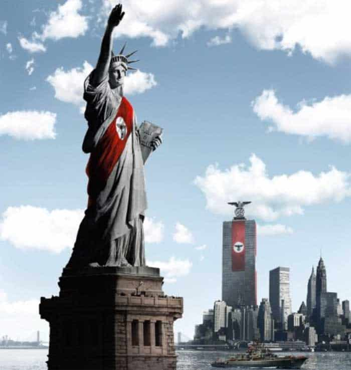 Images of German symbols on American symbols and cities.