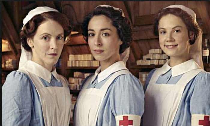 Marianne Oldham as Rosalie, Oona Chaplin as Kitty and Alice St. Clair as Flora in The Crimson Field