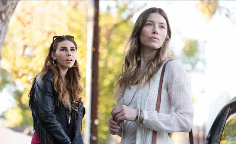 Jessica Biel and Zosia Mamet in Bleeding Heart