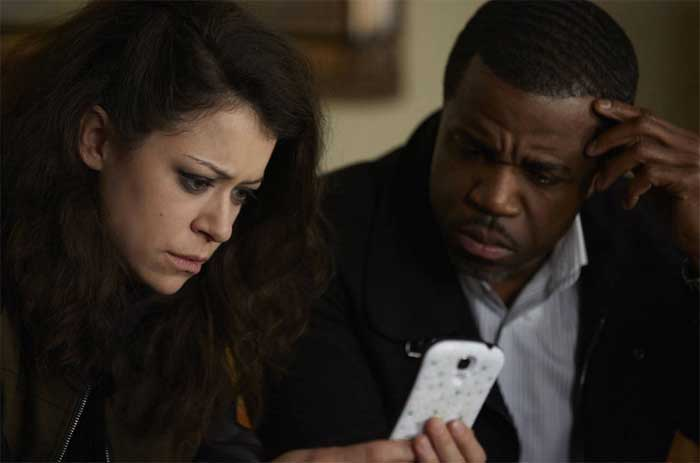 Tatiana Maslany as Sarah and Kevin Hanchard in Orphan Black