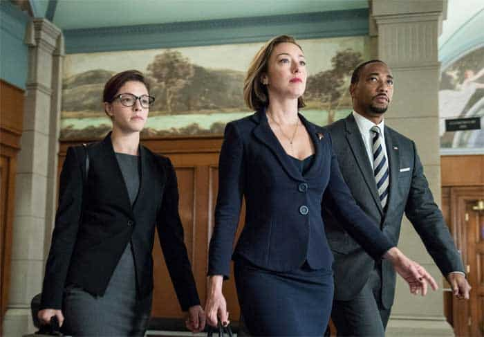 Damon Gupton, Molly Parker, and Olivia Thirlby in Goliath