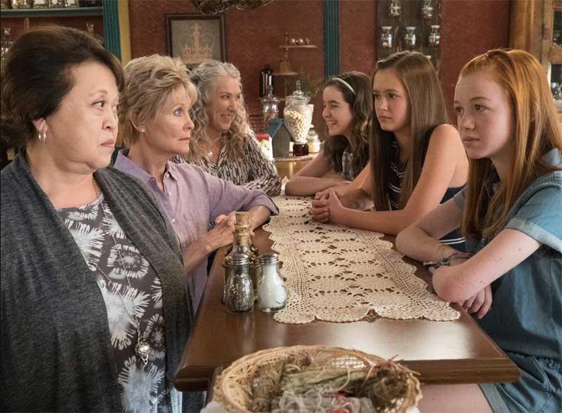 Amy Hill, Dee Wallace, Ellen Karsten, Aubrey K. Miller, Olivia Sanabia, and Abby Donnelly in Just Add Magic