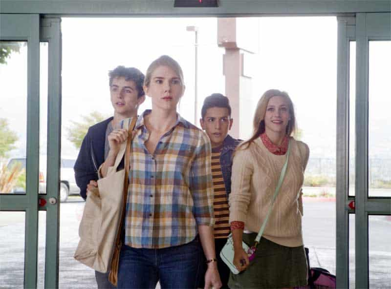Lily Rabe, Timothée Chalamet, Lili Reinhart, and Anthony Quintal in Miss Stevens