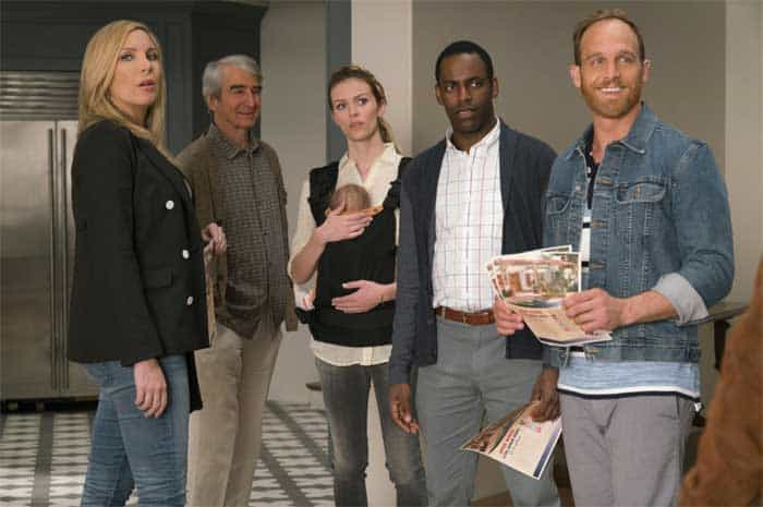 Sam Waterston, Ethan Embry, June Diane Raphael, Baron Vaughn, and Brooklyn Decker in Grace and Frankie