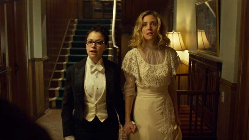 Tatiana Maslany as Cosima and Evelyne Brochu in Orphan Black