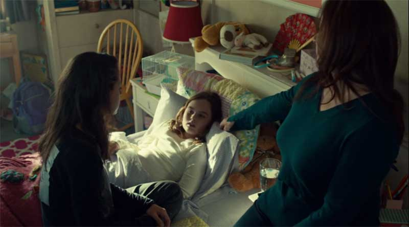 Tatiana Maslany as Sarah, Skyler Wexler and Maria Doyle Kennedy in Orphan Black