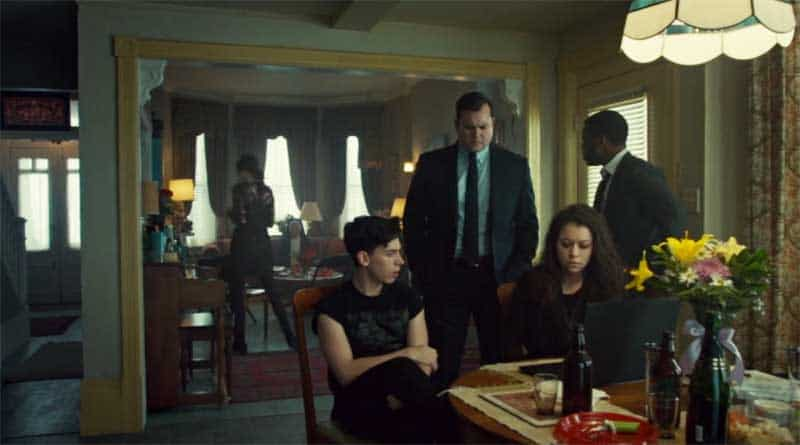Jordan Gavaris, Kristian Bruun, Tatiana Maslany as Sarah, and Kevin Hanchard in Orphan Black