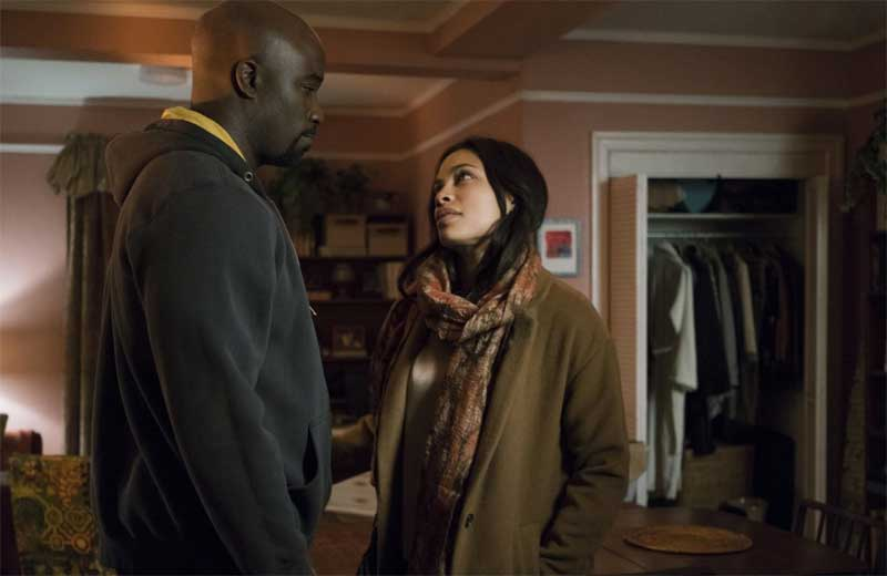 Mike Coulter and Rosario Dawson in The Defenders