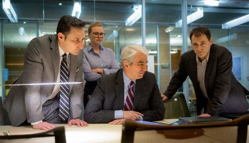 Sam Waterston, Raoul Bhaneja, Alison Pill, and Michael Stuhlbarg in Miss Sloane
