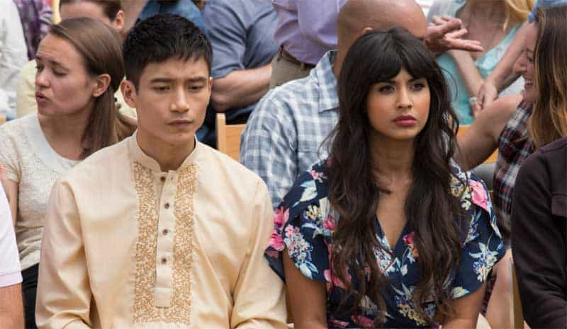 Jameela Jamil and Manny Jacinto in The Good Place