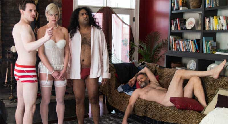 Mark O'Brien, Lauren Lee Smith, Gugun Deep Singh, and James McGowan in How to Plan an Orgy in a Small Town