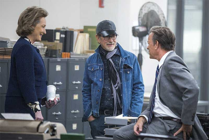 Tom Hanks, Steven Spielberg, and Meryl Streep in The Post