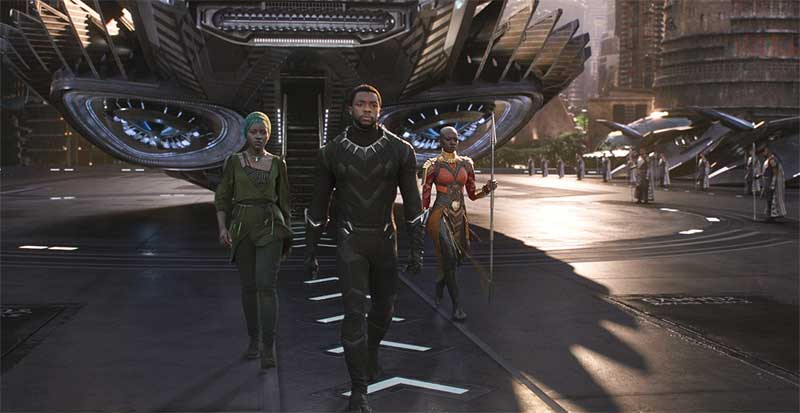 Chadwick Boseman, Danai Gurira, and Lupita Nyong'o in Black Panther
