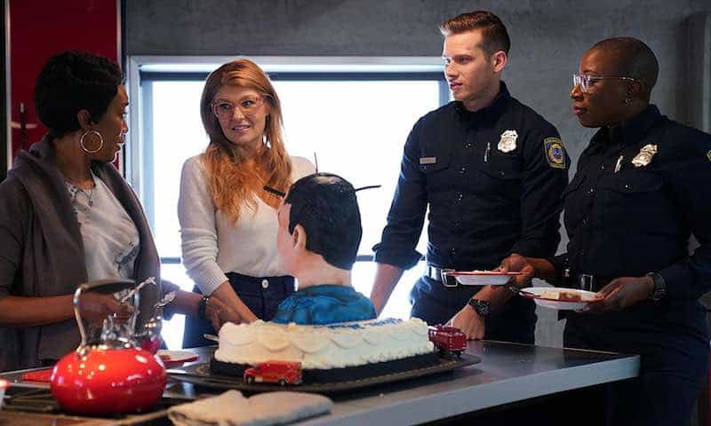 Angela Bassett, Connie Britton, Aisha Hinds, and Oliver Stark in 9-1-1