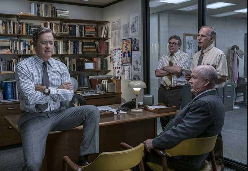 Tom Hanks, David Cross, Bob Odenkirk, and John Rue in The Post