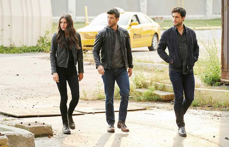 Parker Young, Rob Heaps, and Marianne Rendón in Imposters