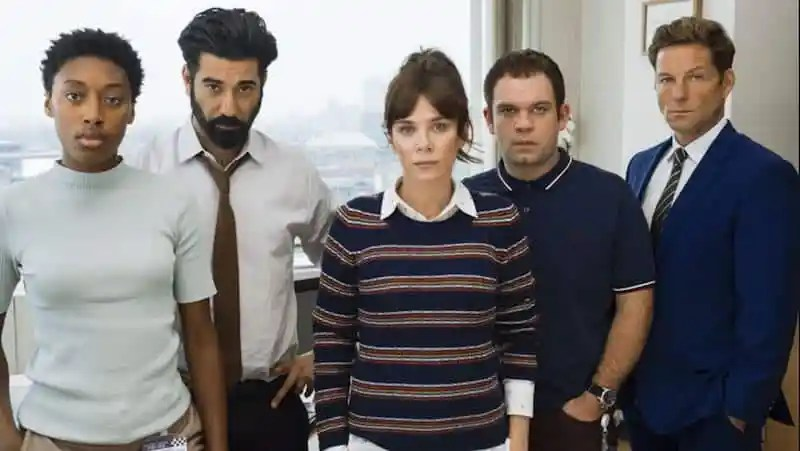 Sophia Brown, Ray Panthaki, Anna Friel, Jack Doolan, and Jamie Bamber in Marcella
