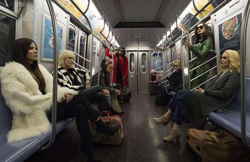 Sandra Bullock, Helena Bonham Carter, Cate Blanchett, Anne Hathaway, Sarah Paulson, Mindy Kaling, Rihanna, and Awkwafina in Ocean's 8