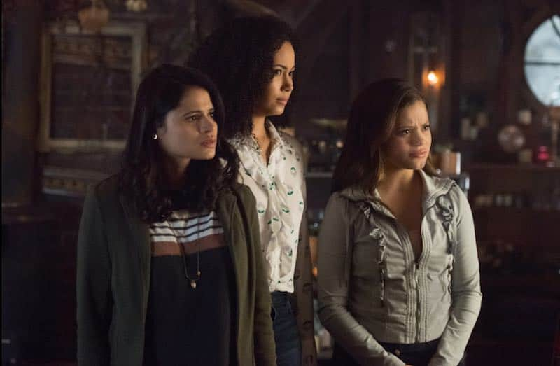 Melonie Diaz, Madeleine Mantock, and Sarah Jeffery in Charmed