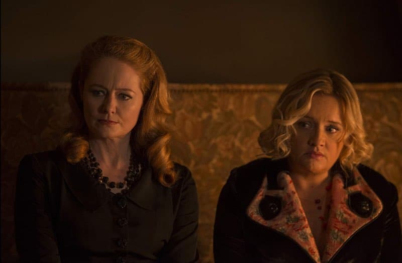 Miranda Otto and Lucy Davis in Chilling Adventures of Sabrina