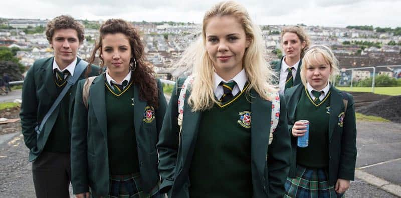 Nicola Coughlan, Dylan Llewellyn, Louisa Harland, Jamie-Lee O'Donnell, and Saoirse-Monica Jackson in Derry Girls