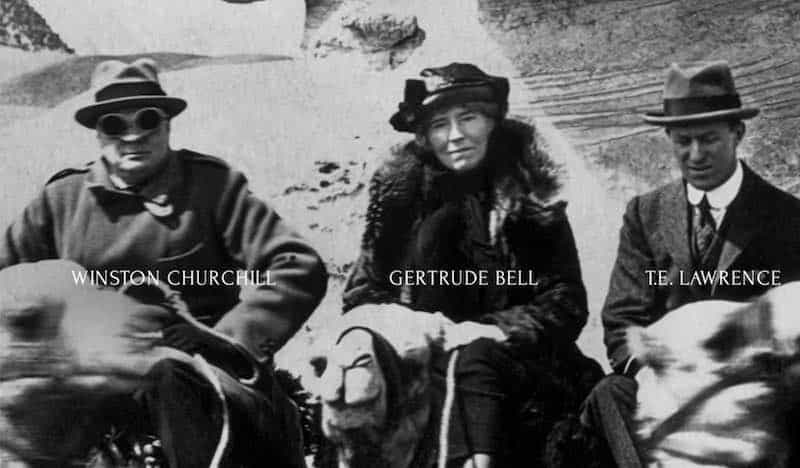 Winston Churchill, Gertrude Bell, and T.E. Lawrence. Image from Letters from Baghdad.