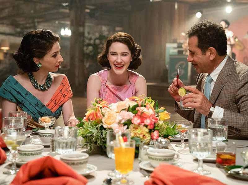 Marin Hinkle, Rachel Brosnahan and Tony Shalhoub in The Marvelous Mrs. Maisel