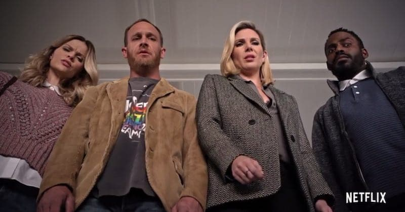 June Diane Raphael, Baron Vaughn, Brooklyn Decker, and Ethan Embry in Grace and Frankie