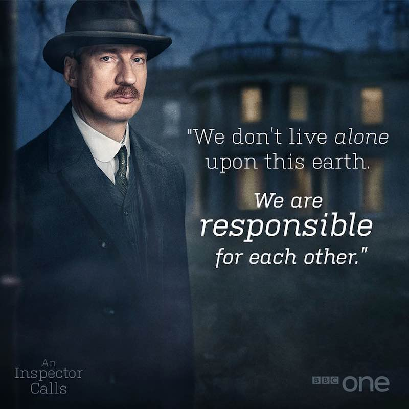 """David Thewlis and the words, """"We don't live alone upon this earth. We are responsible for each other."""""""