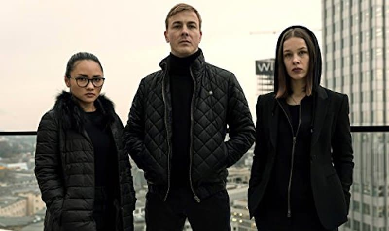 Albrecht Schuch, Paula Beer, and Mai Duong Kieu in Bad Banks