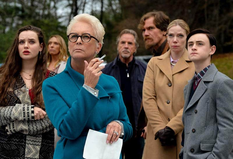 Jamie Lee Curtis, Don Johnson, Toni Collette, Michael Shannon, Riki Lindhome, Jaeden Martell, and Katherine Langford in Knives Out