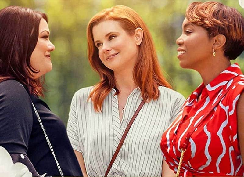 Brooke Elliott, JoAnna Garcia Swisher, and Heather Headley in Sweet Magnolias
