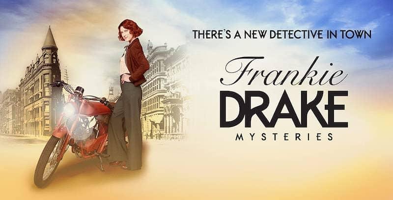 Frankie Drake beside her motorcycle