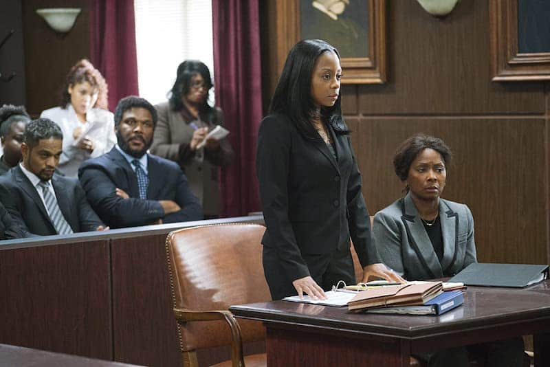 Crystal Fox, Tyler Perry, Bresha Webb, and Donovan Christie Jr. in A Fall from Grace