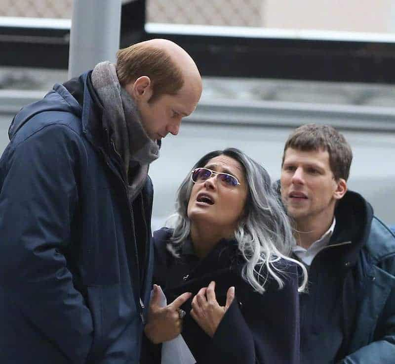 Salma Hayek, Alexander Skarsgård, and Jesse Eisenberg in The Hummingbird Project
