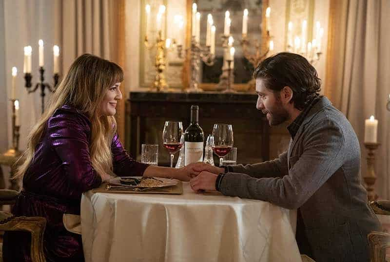 Drew Barrymore and Michael Zegen in The Stand In