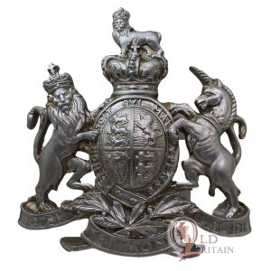 Silver royal coat of arms wall plaque