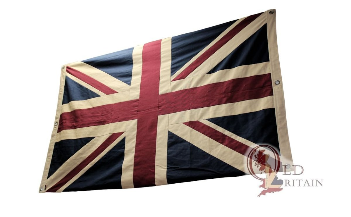 Double sided tea stained Union Jack flag.
